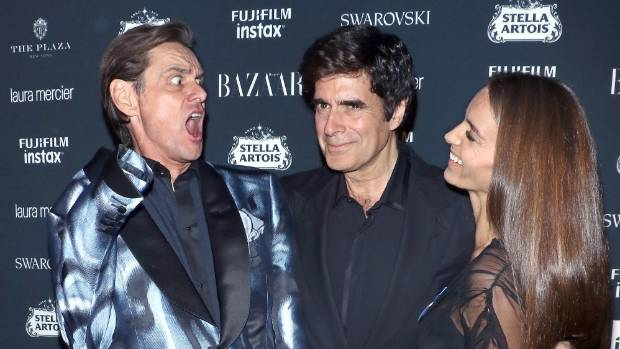 Jim Carrey, magician David Copperfield and Chloe Gosselin attend the 2017 Harper's Bazaar Icons at The Plaza Hotel in NYC.