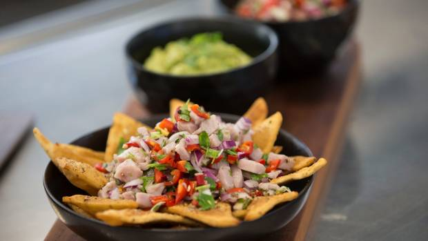 Homemade corn chips with tuna ceviche. Delicious.