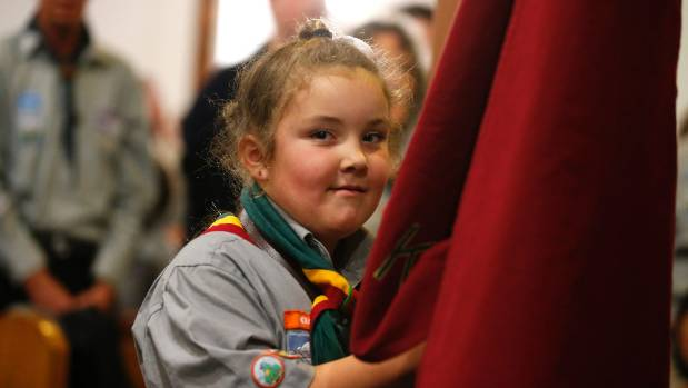 Arid Lister, 7, at the church parade on Tuesday night for South Canterbury Scouts.