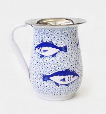 Practical and metal on the inside, Japanese inspired on the outside, this blue and white fish jug would look pretty cool ...