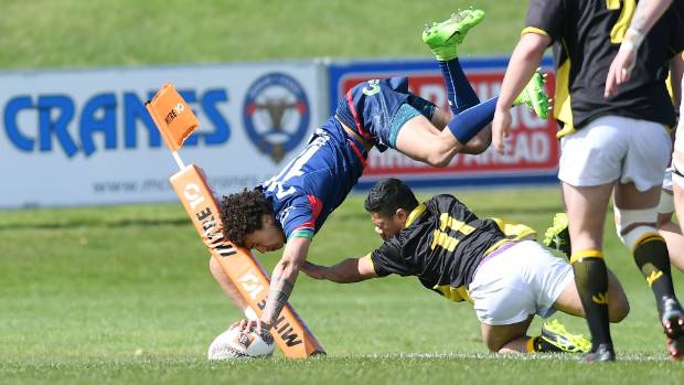 Tasman No 10 Willy Havili scores a spectacular try during their win over Wellington.