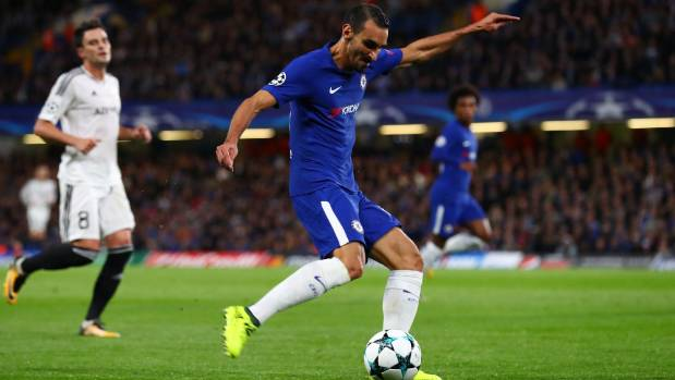 Davide Zappacosta of Chelsea scores in the UEFA Champions League match against Qarabag FK at Stamford Bridge.