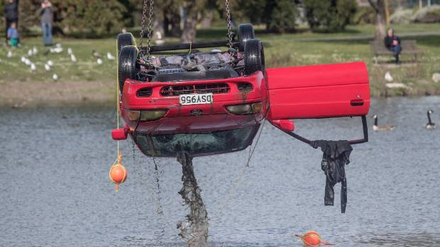 The car was pulled from the lake on Wednesday afternoon.