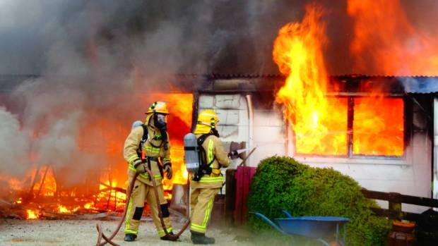 The fire broke out in the ceiling space of the three bedroom home in Waitomo at 9am on Monday.