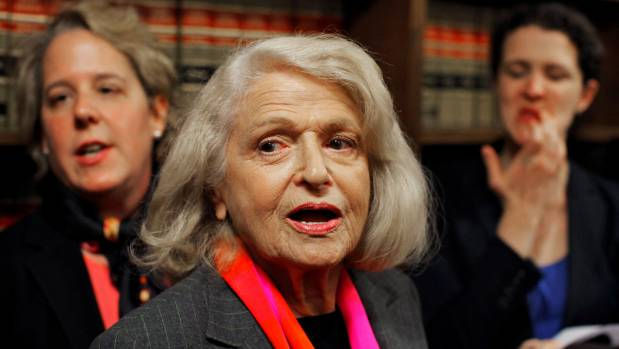 Edith Windsor (centre), fought discrimination against gay couples in the  US.