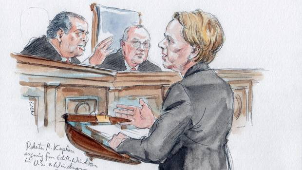 US court sketch of attorney Roberta Kaplan arguing on behalf of Edith Windsor in front of U.S. Supreme Court justices ...