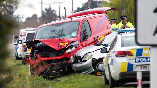 A woman has died and a man is in Timaru Hospital with injuries after a crash on SH1, near Timaru, on Wednesday afternoon.