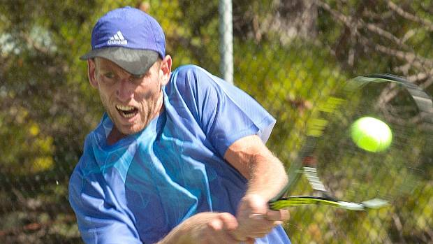 Michael Venus of Auckland showing the effort on his way to winning the Te Anau Invitational Tennis tournament in 2015.