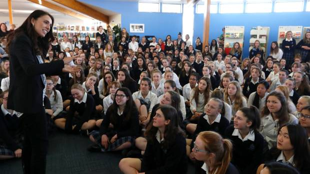 Jacinda Ardern speaks to pupils at Nelson College for Girls.