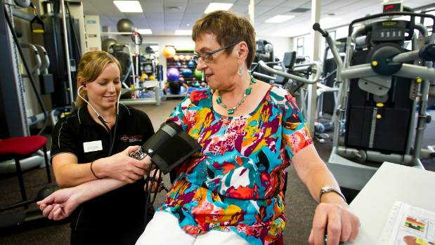 U-kinetics patient Lesley Salter having her blood pressure taken by exercise physiologist Kylie Chapman in 2013.