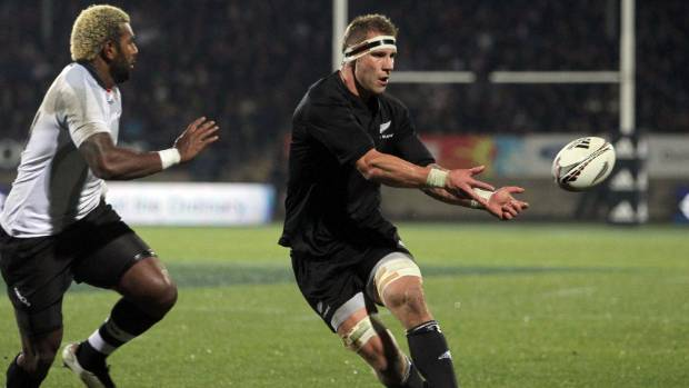 Hoeata makes a pass during his All Blacks debut against Fiji in 2011.