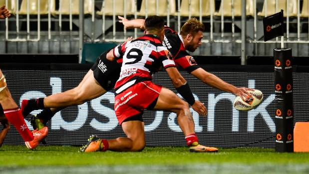 Canterbury wing Braydon Ennor in the process of scoring his 7th try of the season.