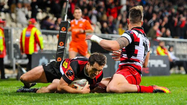 Canterbury centre Tim Bateman dives over against Counties Manukau on Wednesday night in Christchurch.