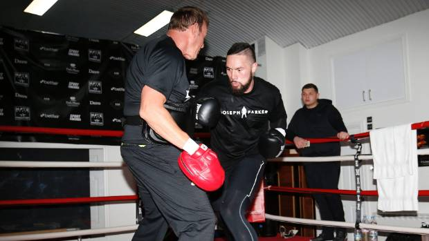 Joseph Parker during a training session in London ahead of his WBO heavyweight boxing title defence.