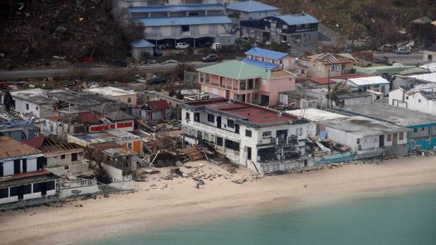 An aerial view of the houses destroyed by Irma in St. Martin.