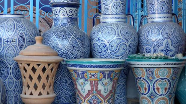 Fez is known for its blue and white pottery, but other colors are available too