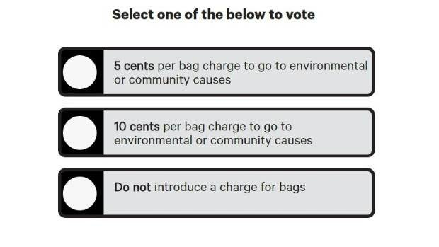 New World is asking its customers if they should charge for plastic bags or keep them free.