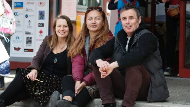 Green candidate for West Coast-Tasman Kate Fulton, left, and Nelson candidate Matt Lawrey flank party inequality ...