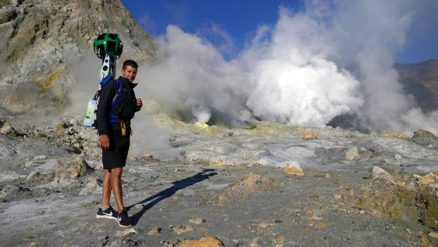 Hike Luke Lamont on Whakaari/White Island with the Google Street View Trekker.