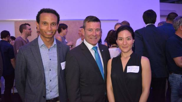 Edmund Hillary Fellowship chief executive Yoseph Ayele, left, with National's Michael Woodhouse, and potential fellow ...