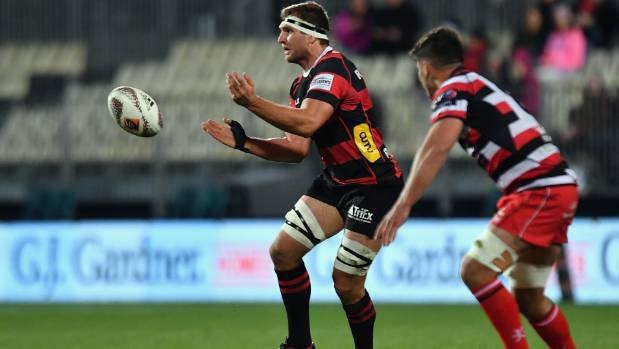 Canterbury captain Luke Whitelock fires a pass during his team's 78-5 demolition job of Counties on Wednesday night.