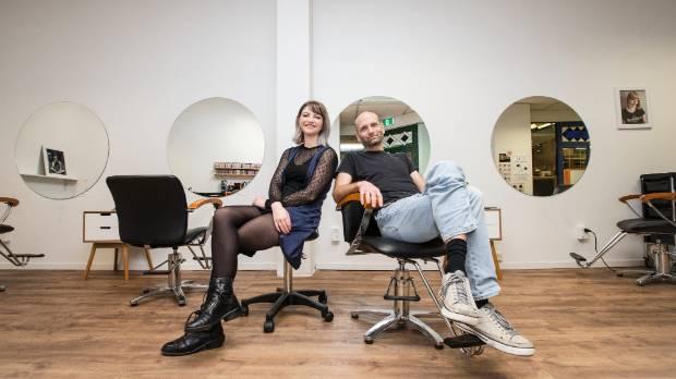 Matthew Kane Hairdresser owner Matthew Kane, right, and hair stylist Ella Stewart.