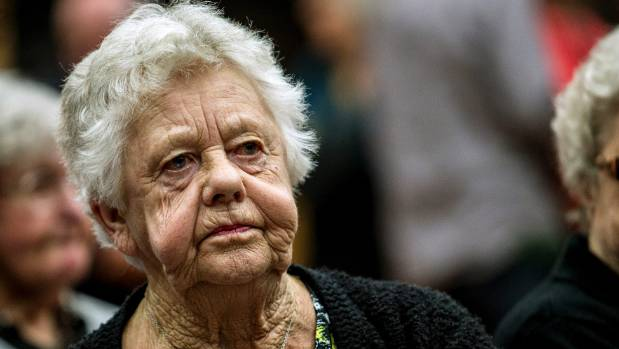 Christchurch woman Berneice Edmonds 83, at a Labour, Greens and Grey Power inquiry into aged care in April this year.