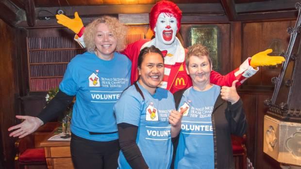 Ronald McDonald with volunteers at Wellington's RMH Supper Club fundraiser last week. In 2016, RMH had 763 regular ...