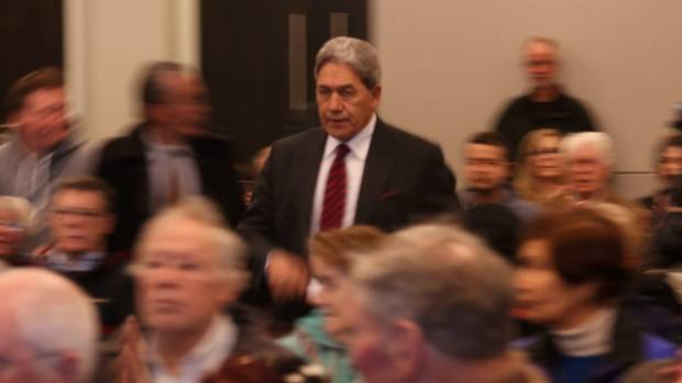 Winston Peters enters the Dunedin Centre to give his speech.