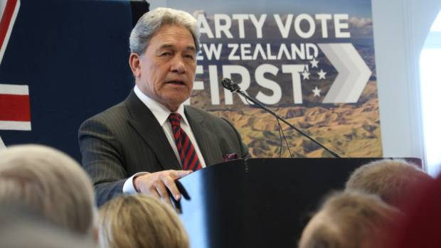 Winston Peters speaks to about 200 people at a campaign meeting in Dunedin.