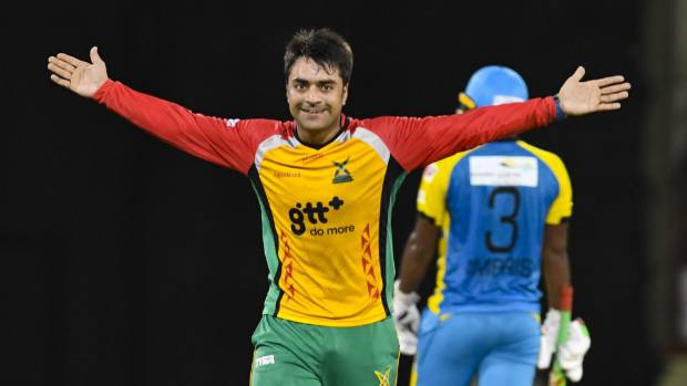 Rising spin star Rashid Khan of Guyana Amazon Warriors celebrates another wicket in the CPL, against St Lucia Stars.