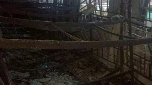 The charred interior of the religious school Darul Quran Ittifaqiyah after a fire broke out in Kuala Lumpur, Malaysia.