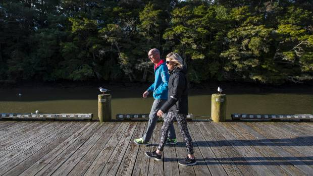 National voters Fin Higgins, left, and Toni Beer out for evening walk in Warkworth.