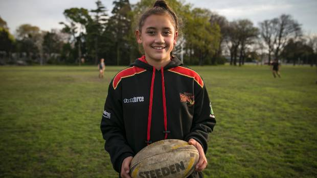 Tiara Te Maari-Whiley, 11, has recently been named the only girl the Canterbury 11s rugby league side.