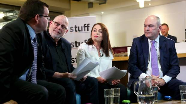 Grant Robertson (far left) clashed with Steven Joyce (far right) in the Stuff Finance Debate, moderated by Stuff's ...