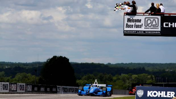 Scott Dixon wins at Road America in Wisconsin back in June.