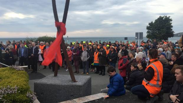 Hundreds gathered to greet the first post-quake freight train into Kaikōura last Friday.