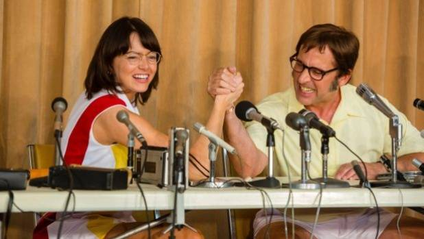 Emma Stone (Billie Jean King) and Steve Carell (Bobby Riggs) in Battle of the Sexes.