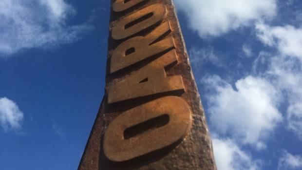 Twisted iron from the quake-damaged railway line bears the names of affected townships around Kaikōura, including Oaro, ...