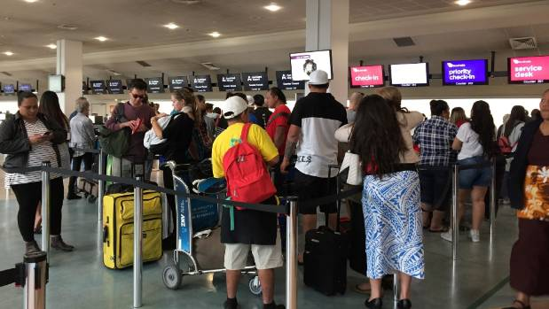 Auckland Airport after flights were cancelled due to a fuel pipeline leak. Thousands of travellers are expected to be ...