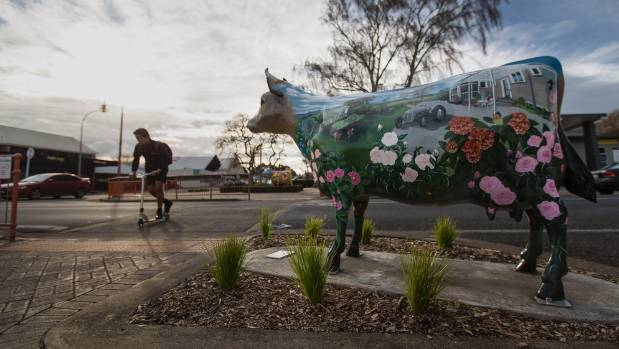 A statue of a cow in Morrinsville, where farmers plan to protest.