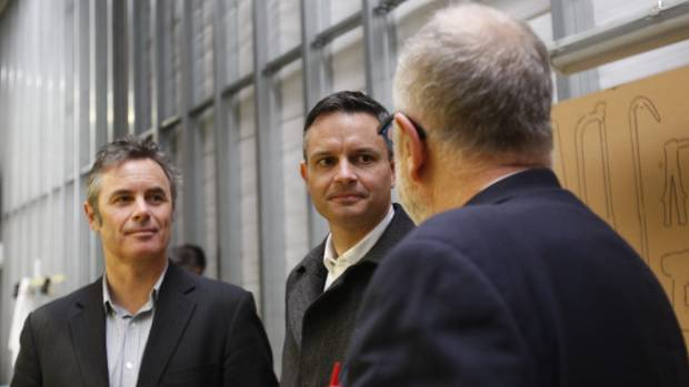 Green Party leader James Shaw, centre, visits the Pic's Peanut Butter factory in Nelson with Green Party Nelson ...