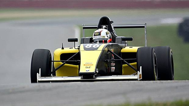 New Zealand's Brendon Leitch accelerates in the FIA Formula 4 USA Championship.