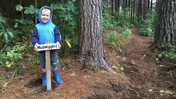 Sam Richardson at the entrance to a new mountainbike trail for kids in Picton.