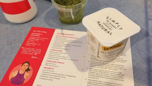 Getting ready to make the Chimichurri yoghurt dressing for 'My Food Bag' spiced chicken recipe.