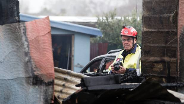 Fire and Emergency New Zealand fire investigator Murray Cairns surveys the damage.