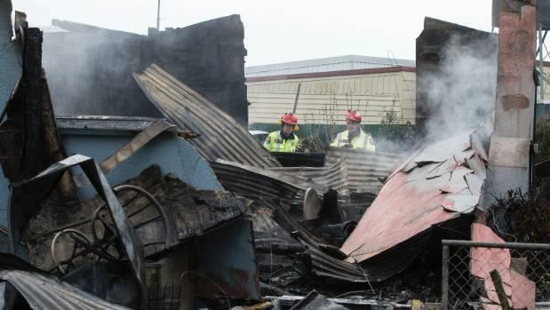 Firefighters were still dampening hotspots at 9.40am.
