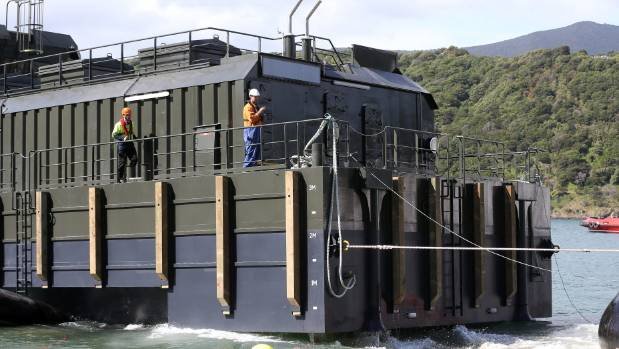 The rear of the new feeder barge as it was launched into the harbour.
