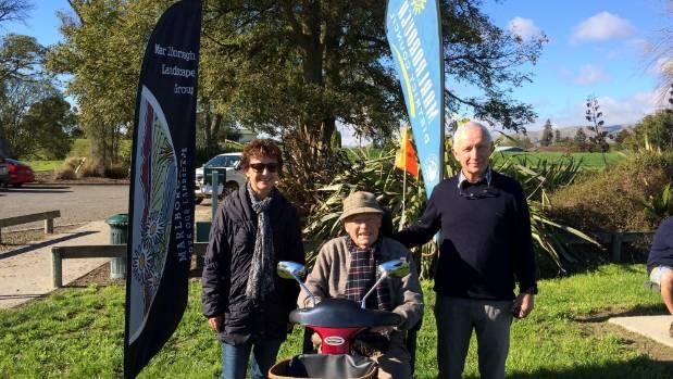 The first planting event in 2014 saw  Marlborough Landscape Group members, from left, Helen Ballinger, Ralph Ballinger ...