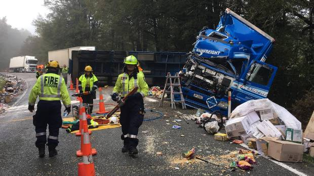 A 40-year-old male was flown to Wellington Hospital in a critical condition following an accident involving two trucks ...